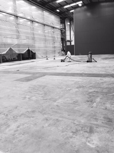 Warehouse being prepared for industrial resin flooring