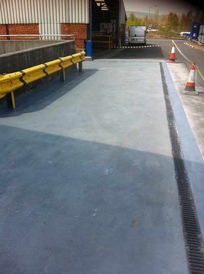 Tanker unloading bay in Newcastle with Resin Flooring installed
